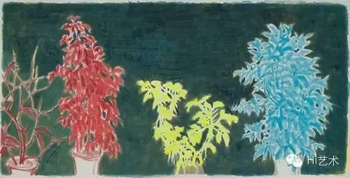邬一名 《三棵树2》 125×250cm 宣纸上水墨 2014