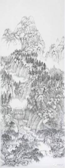 陈浚豪 《临摹五代巨然万壑松风图》 280×108cm 不锈钢蚊钉、画布、木板 2011