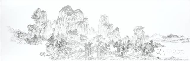 陈浚豪 《临摹元赵原仿燕文贵、范宽山水图》 91×275cm 不锈钢蚊钉、画布、木板 2013