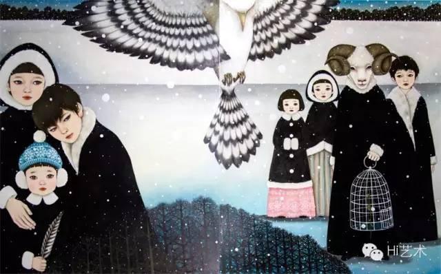 饭田桐子 《寒冬行人1& 2 》162×130.3×2cm 布面油画 2015