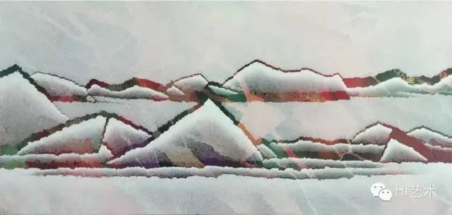 仇德树 《裂变》 56×117cm 布面宣纸丙烯 2012