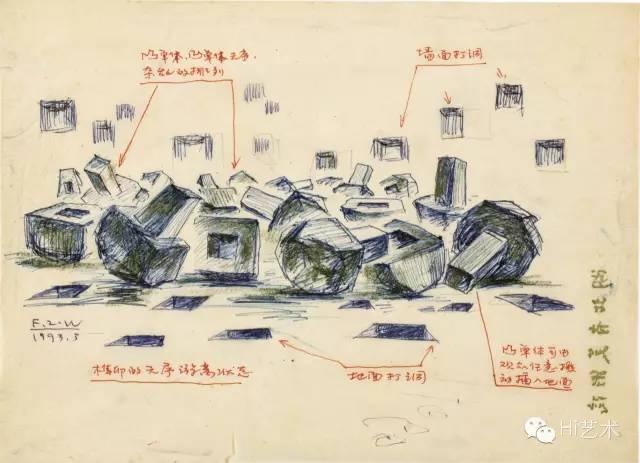 傅中望 《世纪末人文图景》创作手稿 19×26cm 纸本、圆珠笔、铅笔棒 1993