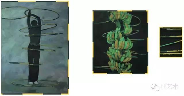 张宇飞 《抽象练习(乌拉圈)》 152.5cm×112.5cm、92.5cm×82.5cm、42.5cm×32.5cm 布面油画、棉麻布、木头 2014