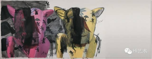 李山 《阅读系列 - 两个老虎头》 591×228cm 丙烯画布 2009