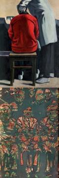 耿建翌 《1985年夏季的清洗(双面画 )》 174×105cm  布面油画 1985;1992  估价:580-680万