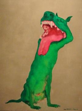 周春芽《绿狗》 150×120cm 布面油画 1998