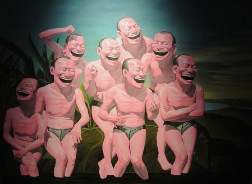 岳敏君《闲云野鹤之十》220×300cm 布面油画 2004