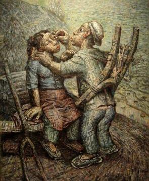 罗中立《吹渣渣》 150×118.5cm 布面油画 1996