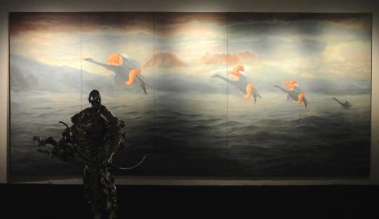 方力钧《2004/2006.5.1》 175×400cm 布面油画 2004