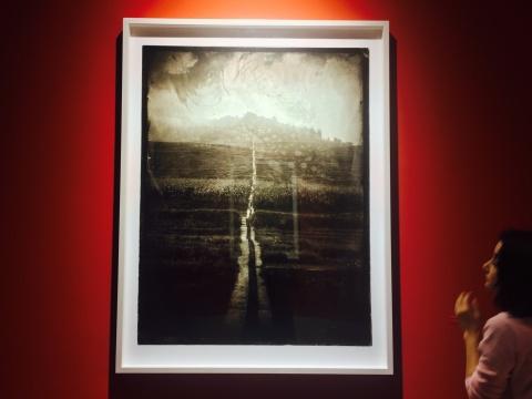 观众在作品《素歌-No.064》前,《路》,火棉胶湿版玻璃底片,收藏级艺术微喷