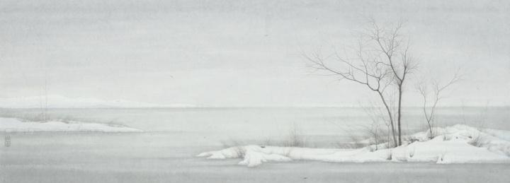 程保忠 《相望于江之二》42×117cm 纸本设色 2015