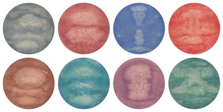 黄威作品《云叠游云》 45×45cm 纸本设色 八张一套 2015