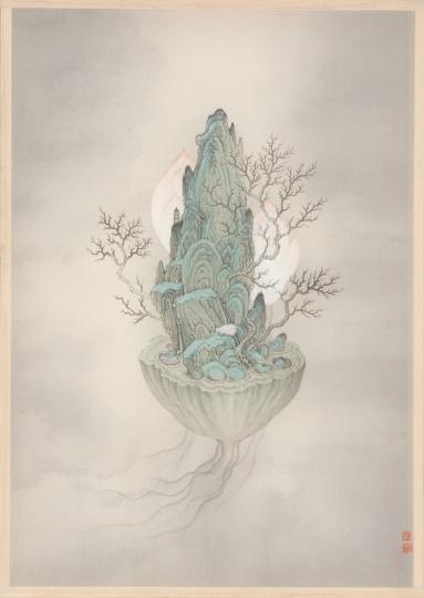 廖星君 《妙法莲华》系列 30×42cm 水墨绢本 2015