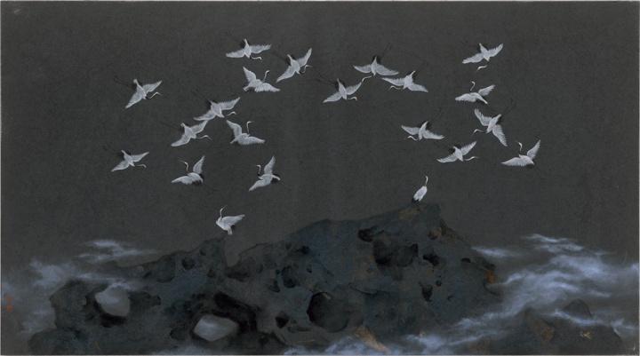 李娜《逝去的风景1》 50×90cm 纸本综合 2015