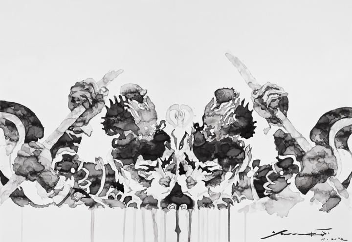 杨凯《魑魅魍魉NO.1-关于伟⼤的探讨》 60×80cm 纸本水墨 2012