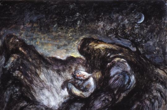 《荒山幽灵之野鬼》75×55cm水粉 1983