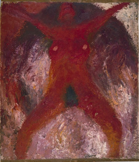 《红色人体》97×84.5cm 纤维板上布面油画 1984