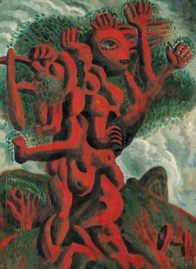 《红土之母·召唤》73.5x54cm 纸板上油画 1986