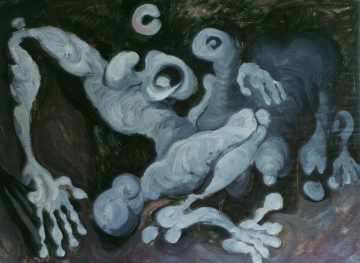 《夜晚中的两个体积》79×105cm 纤维板上纸板油画 1984