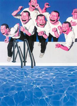 岳敏君 《攻占游泳池》 300×220cm 布面丙烯 2002 成交价:2048.75万港元