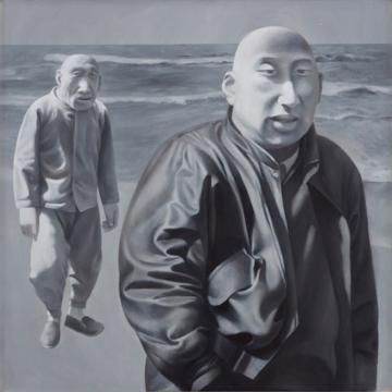 方力钧 《系列一(之四)》 100×100cm  布面油画 1990-1991 成交价:1744万港元