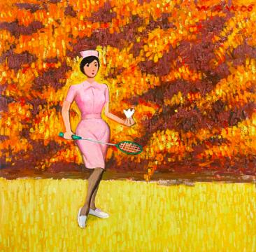 王兴伟 《无题(护士打羽毛球)》135×135cm  布面油画 成交价:160万港元