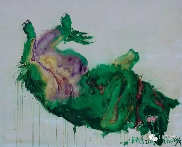 Lot199 周春芽《绿狗系列》 120×150cm 布画油画 2002 估价:220至320万港元