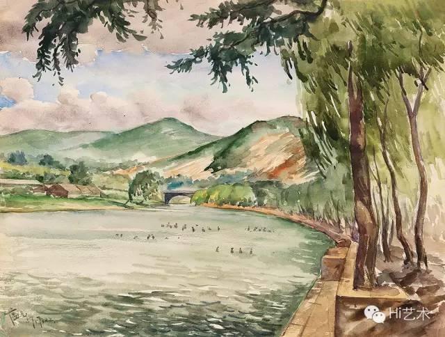 Lot2401 唐蕴玉 《公园浴场》 27×30cm 纸本水彩 1957 估价:20至40万港元