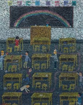 Lot905 欧阳春 《教室》 190×150cm 布面油画 2011 估价: 20-28万