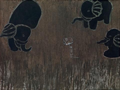 Lot910 王亚彬 《大象座》 60×80cm 布面综合材料 2010 估价: 8-10万