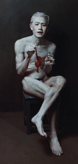 Lot 0246 石冲《欣慰中的年青人》 152×74cm 布面油画 1995 估价:2600-3600万元
