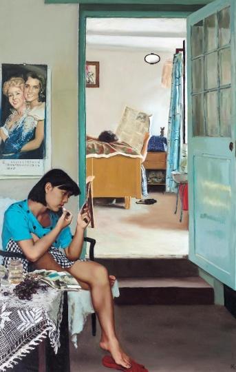 Lot 0242 赵半狄 《涂口红的女孩》 170×109cm 布面油画 1990 估价:400-600万元