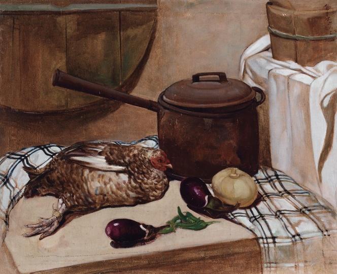 Lot 0236 常书鸿 《静物·鸡》 85.5×105.3cm 布面油画 1942 估价:150-250万元