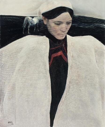Lot 0245 何多苓 《白衣彝女》 86×71.5cm 布面油画 1991 估价:300-500万元