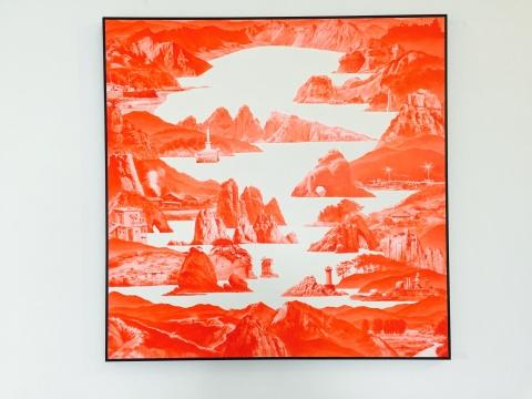 李世贤2011年装作的 《Between Red 136》150×150cm麻布油画