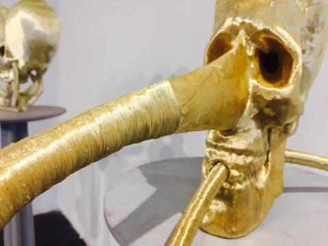 以金色的丝线缠绕人的头骨