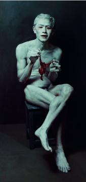 石冲《欣慰中的年青人》 152×74cm 布面油画 1995 成交价:3795万元
