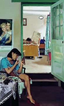 赵半狄 《涂口红的女孩》 170×109cm 布面油画 1990 成交价:1380万元