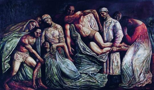 丁方《悼歌(两联)》 200×170cm×2 布面油画、综合材料 1993 成交价:1150万元