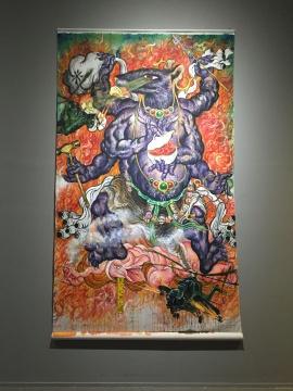 龚旭《鼠化大黑天图》,鼠的形象如同宗教中 的金刚
