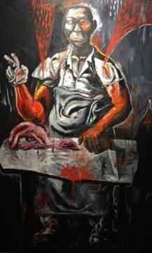 张恩利 《二斤牛肉》 160×100cm 布面油画 1993