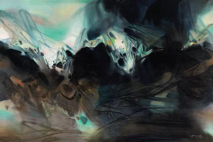 朱德群 《稳重》130×195cm布面油彩 1997图片来源:龙美术馆