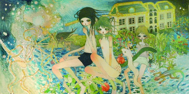 高野綾 《From the Diary of a Man on the Run》 194 x 97 cm  布面油画   2012