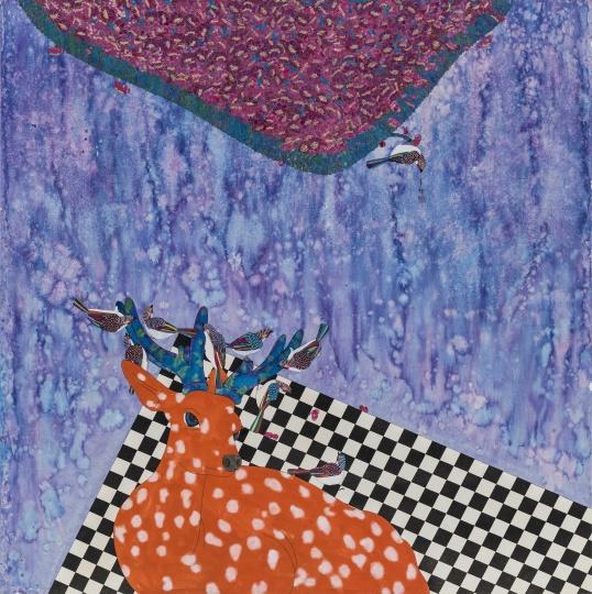 刘天怜 《花丛下的梅花鹿》 120×120cm 纸本设色 2013
