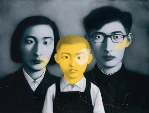 张晓刚《血缘—大家庭·全家福》 99.5x130cm 布面油画 1995 成交价:1679万元