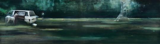 贾蔼力《面包车》 110x400cm 布面油画 2009  成交价:621万元