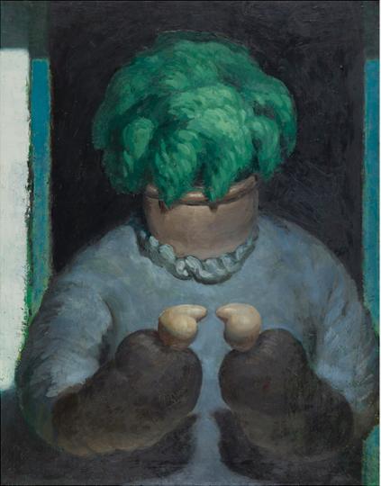 王兴伟  《无题(花盆老太太)》 117×91.5cm 布面油画 2011