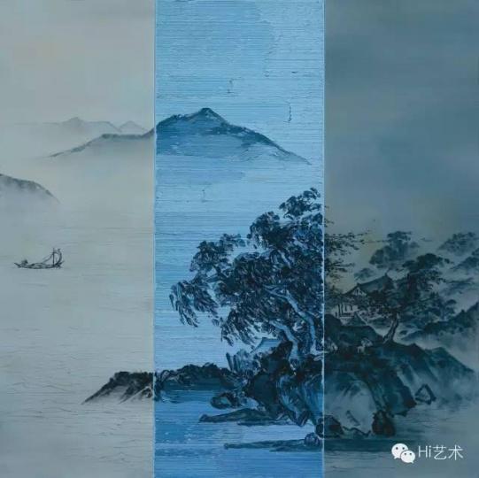 何森 《山水泛舟图》 80x80 cm 油彩布面 2014