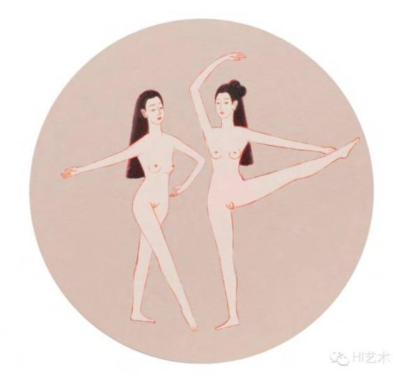 张晖 《两小飞人之六》 直径40cm 布面丙烯 2015