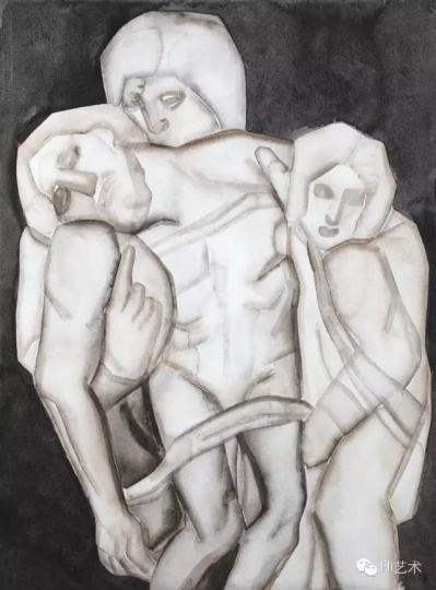 胡子 《Pieta》 75.5×55.5 cm 纸上水粉 2015